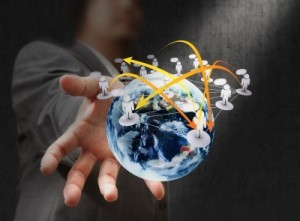 11844119-businessman-hand-holds-globe-and-social-network